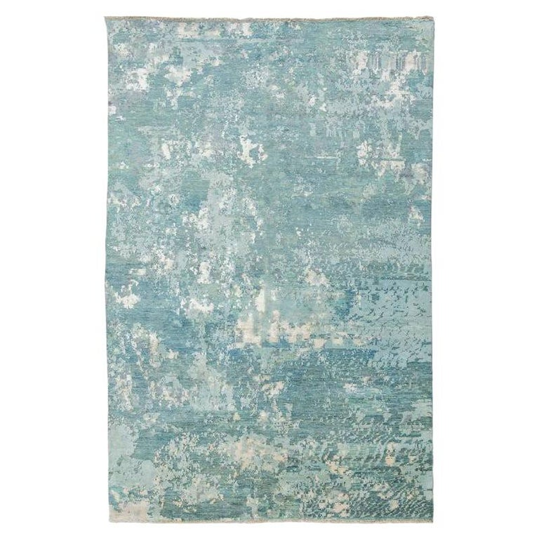 Handmade Contemporary Handmade Rug in Silk and Wool For Sale