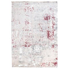 Handmade Contemporary Handmade Rug in Silk and Wool Garnet and Gray Shades
