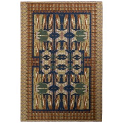Handmade Contemporary Needlepoint Rug in Green and Beige Brown Geometric Pattern