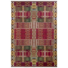 Handmade Contemporary Needlepoint Rug in Red and Green Geometric Pattern