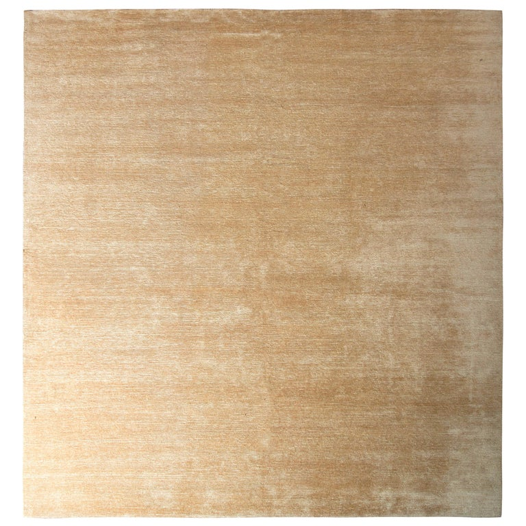 Handmade Contemporary Rug Beige Brown Striped Pattern by Rug & Kilim For Sale
