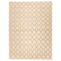Handmade Contemporary Rug Geometric Design in Beige Soft Color
