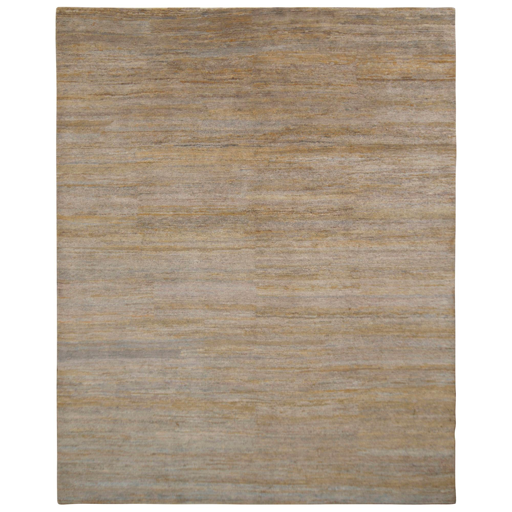 Rug & Kilim's Handmade Contemporary Rug Gray Beige Striped Pattern
