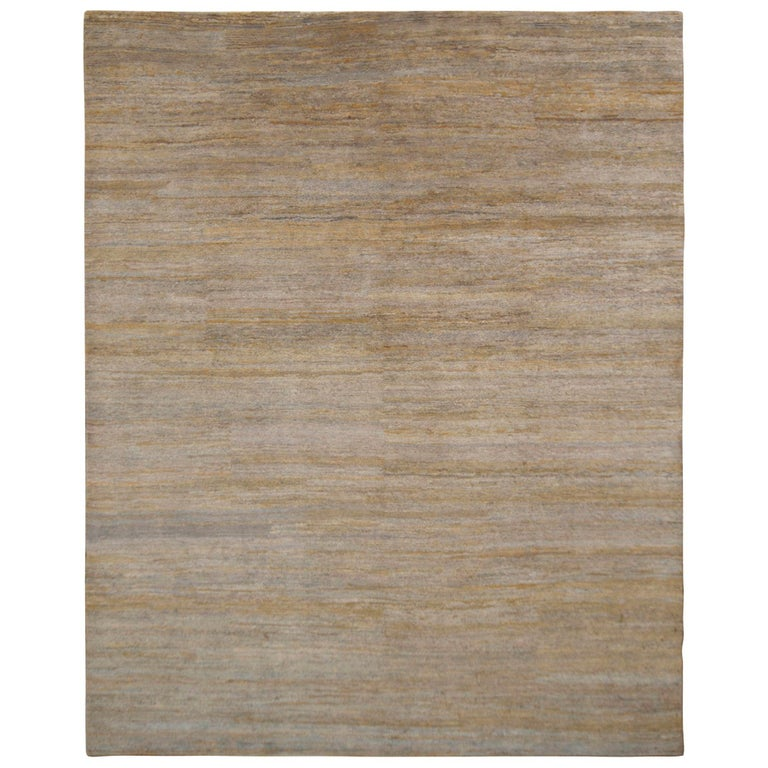 Handmade Contemporary Rug Gray Beige Striped Pattern by Rug & Kilim For Sale