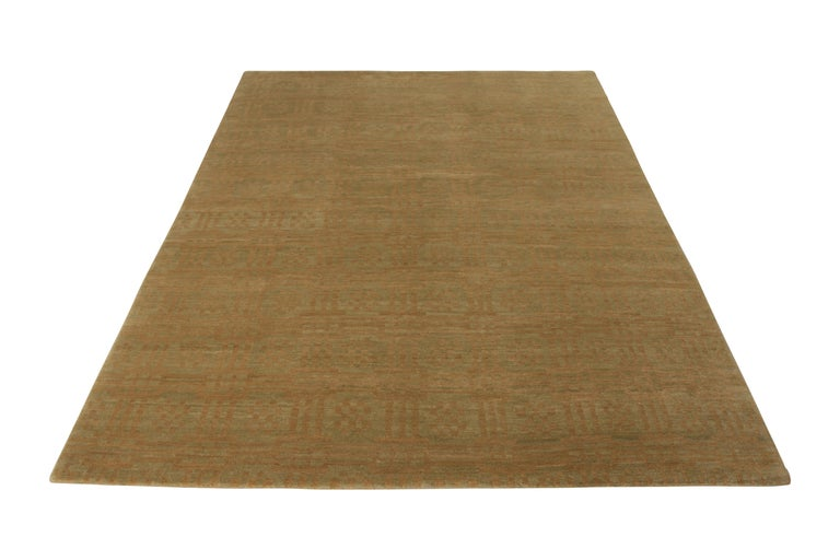 Art Deco Rug & Kilim's Handmade Contemporary Rug in Green and Brown Geometric Pattern For Sale