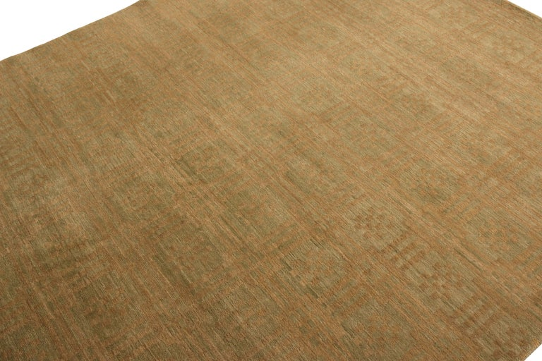 Nepalese Rug & Kilim's Handmade Contemporary Rug in Green and Brown Geometric Pattern For Sale