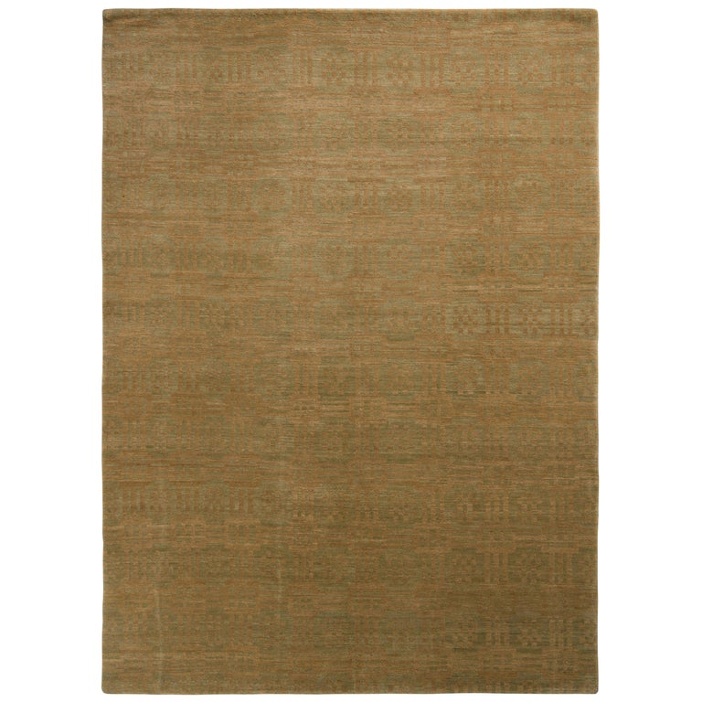 Rug & Kilim's Handmade Contemporary Rug in Green and Brown Geometric Pattern For Sale