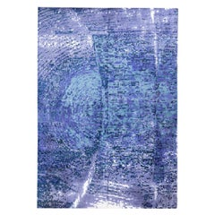 Handmade Contemporary Rug in Silk and Wool Blue and Purple Shades