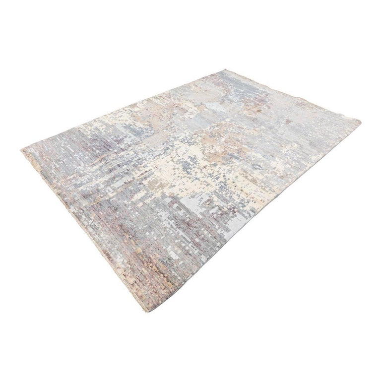 Modern Handmade Contemporary Rug in Silk and Wool Earth Shades For Sale