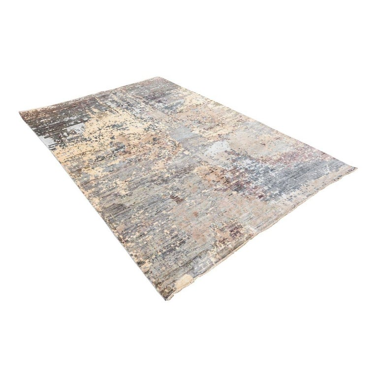 Pakistani Handmade Contemporary Rug in Silk and Wool Earth Shades For Sale