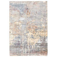 Handmade Contemporary Rug in Silk and Wool Earth Shades