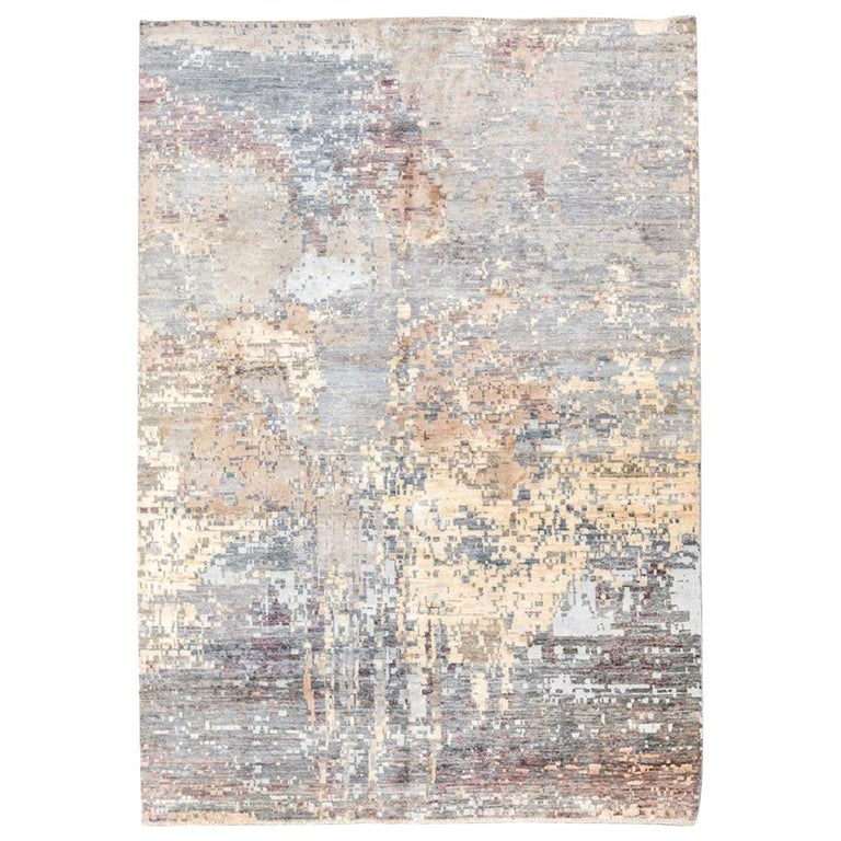 Handmade Contemporary Rug in Silk and Wool Earth Shades For Sale