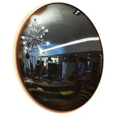 Handmade Convex Mirror with Blue Tint and Antiqued Patina