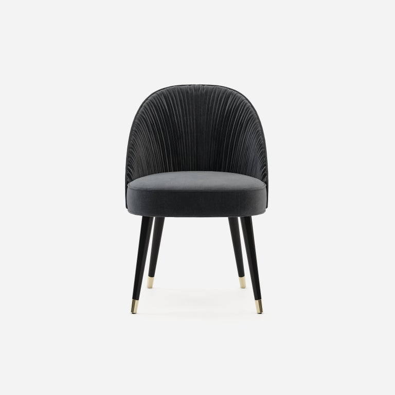 Modern Handmade Couture Dining Chairs in Lacquered Wood and Pleated Velvet For Sale