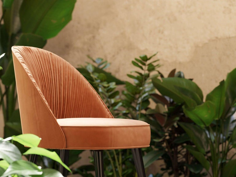 Contemporary Handmade Couture Dining Chairs in Lacquered Wood and Pleated Velvet For Sale