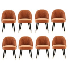 Handmade Couture Dining Chairs in Lacquered Wood and Pleated Velvet