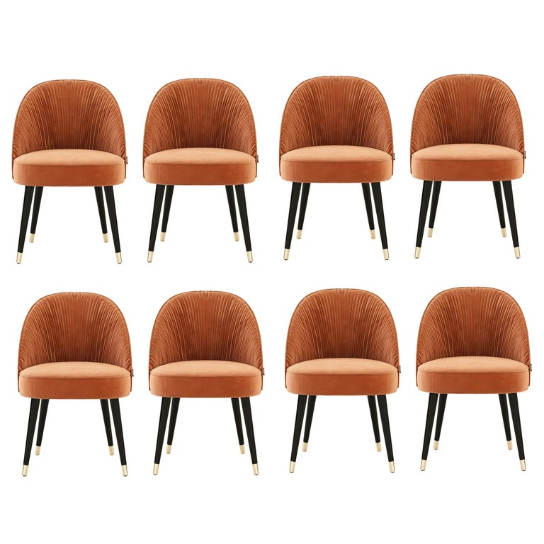 Handmade Couture Dining Chairs in Lacquered Wood and Pleated Velvet For Sale