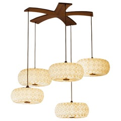 Handmade Cream Origami 5 Molecules Hand-Folded Shade and Mahogany Chandelier