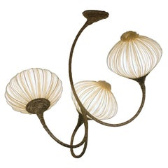 Handmade Cream Pleated Silk 3 Palms Chandelier