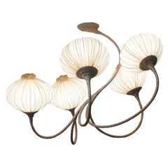 Handmade Cream Pleated Silk 5 Palms Chandelier
