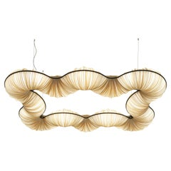 Handmade Gold Pleated Silk Rotini 55x82 inch Pendant Lamp