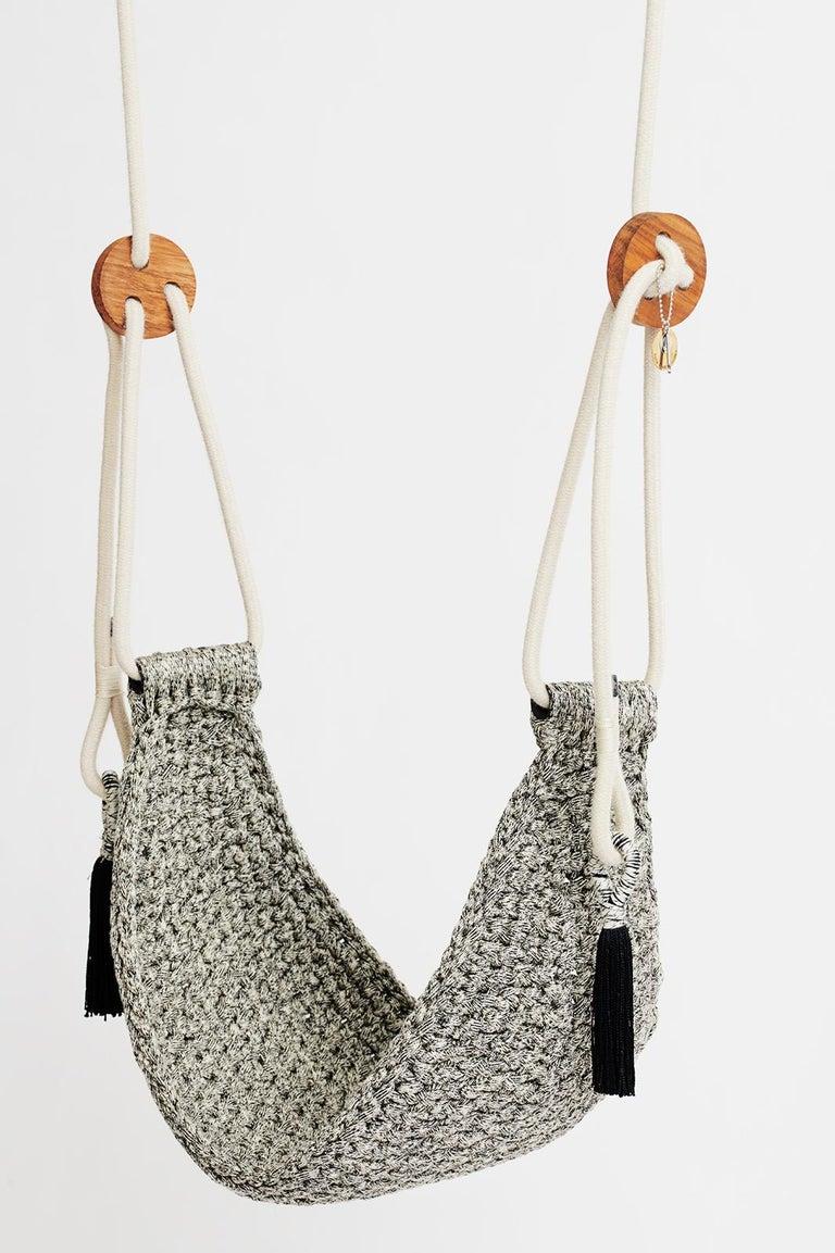 Israeli Handmade Crochet Black and White Outdoor UV Protected Textile Swing Hammock Seat For Sale