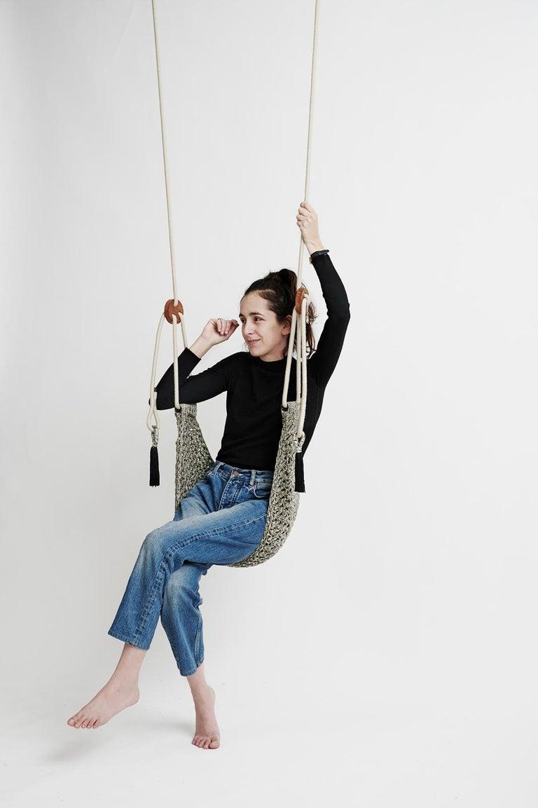 Israeli Grey Saddle Swing Handmade Crochet Outdoor UV Protected Textile Hammock Seat For Sale