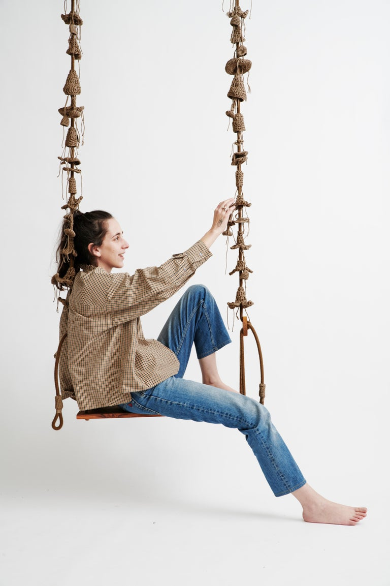 Israeli Outdoor Cacao Swing Handmade Crochet in UV Protected Yarn with Burmese Teak Wood For Sale