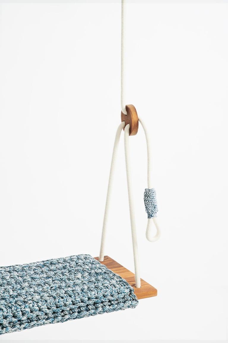 Israeli Handmade Crochet Cotton and Polyester Thick Rug Swing Burmese Teak Wood Seat For Sale