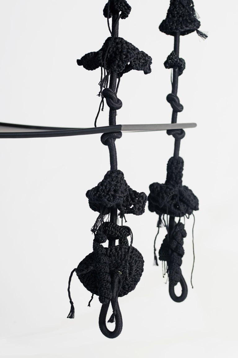 Handmade Crochet Cotton Polyester Black Forest Swing with Matte Black Iron Seat In New Condition For Sale In Tel Aviv, IL