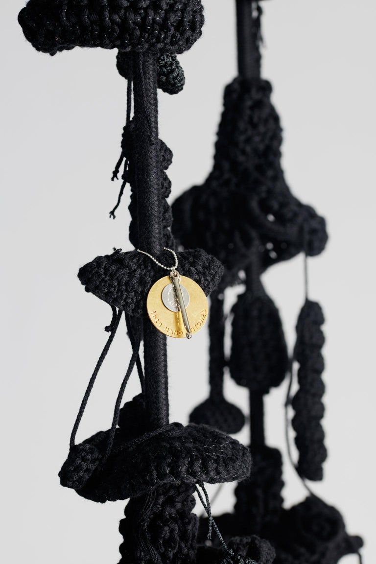 Handmade Crochet Cotton Polyester Black Forest Swing with Matte Black Iron Seat For Sale 3
