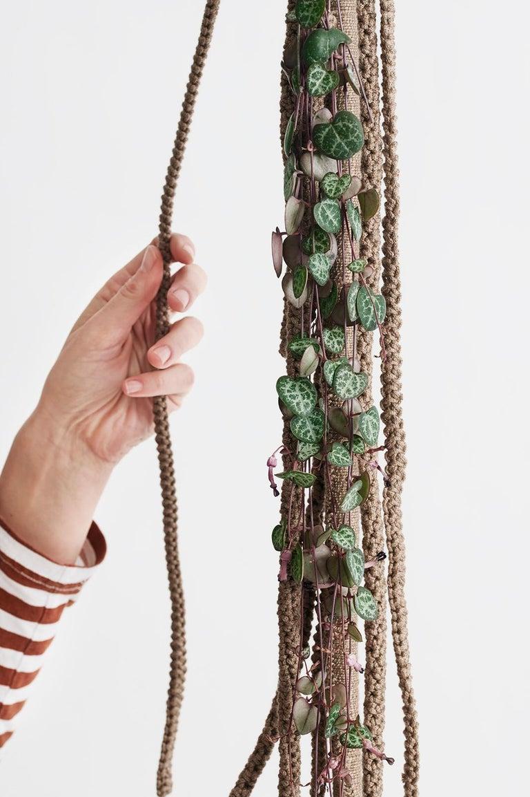 Cotton Children's Tarzan Outdoor Swing Handmade Crochet Cacao Textile Teak Wood Seat For Sale