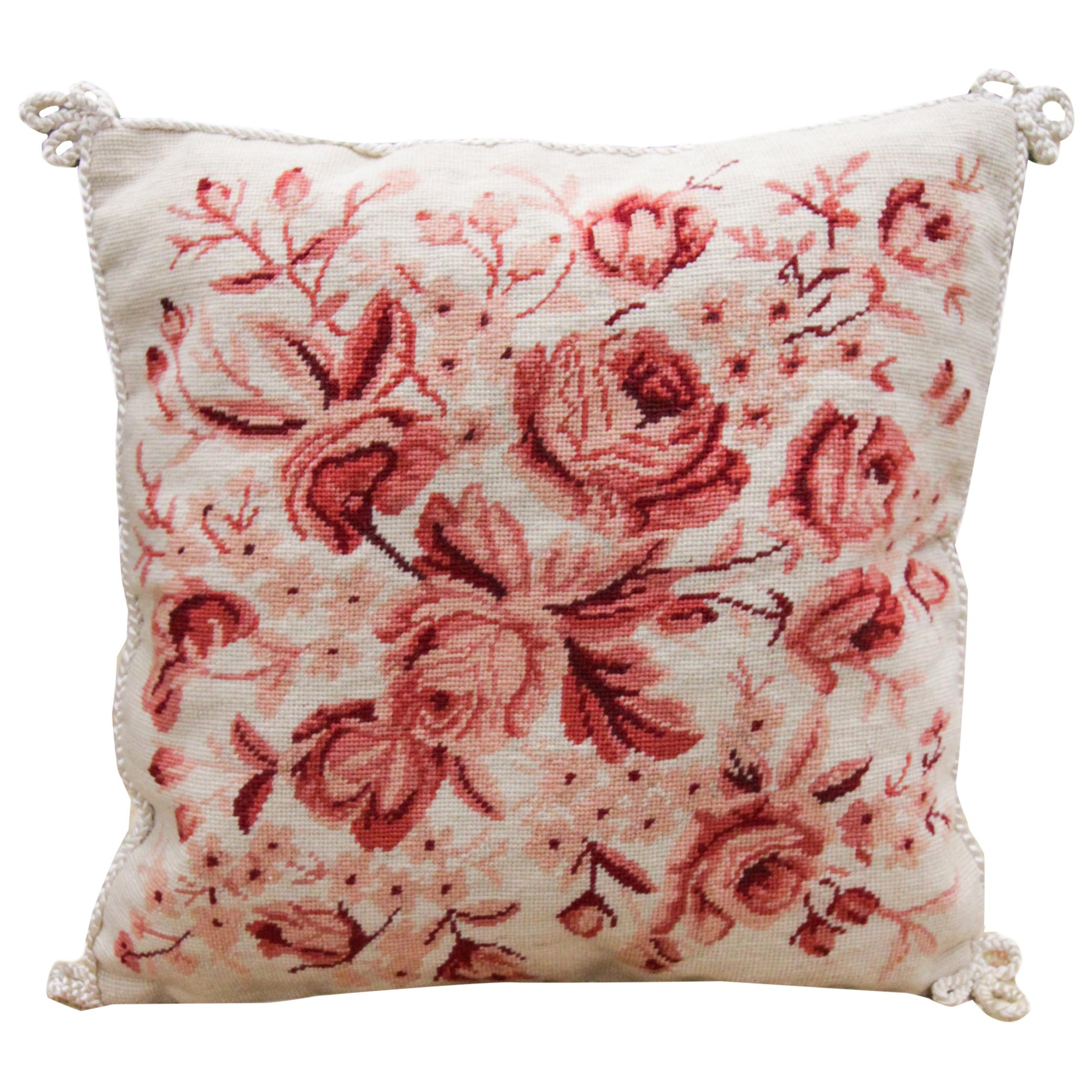 Handmade Cushion Cover Floral Needlepoint Scatter Pillow Cover