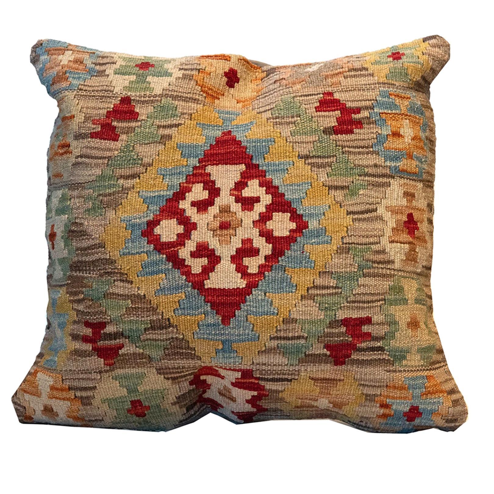 Handmade Cushion Cover, Oriental Pillow Beige Wool Kilim Cushion Cover
