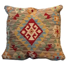 Handmade Cushion Cover, Oriental Pillow Beige Wool Kilim Cushion Cover