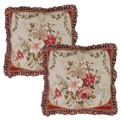 Handmade Cushion Cover Vintage Aubusson Traditional Wool Pillow Case