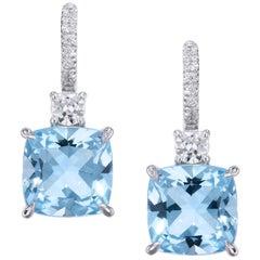 Handmade Cushion Cut Sky Blue Topaz with Diamond Pavé Lever Back Earrings