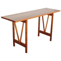 Handmade Custom Modern Sculptural Cherrywood Console Table by Roger Deatherage