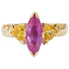 Handmade Custom Pink and Yellow Sapphire Ring 14 Karat Yellow Gold