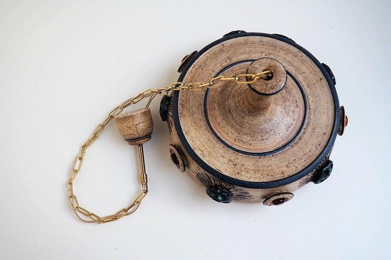 Handmade Danish Ceramic Pendant by Jette Hellerøe for Axella from the 1970s For Sale 4