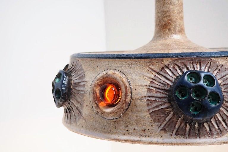 Glazed Handmade Danish Ceramic Pendant by Jette Hellerøe for Axella from the 1970s For Sale