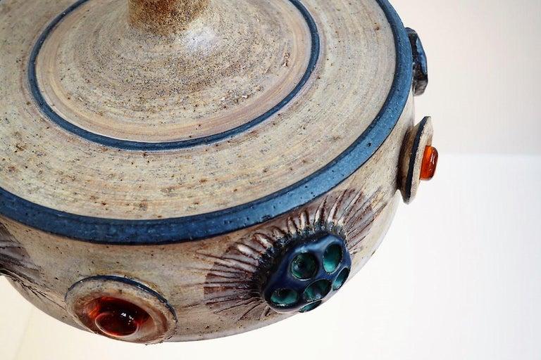 Handmade Danish Ceramic Pendant by Jette Hellerøe for Axella from the 1970s For Sale 2