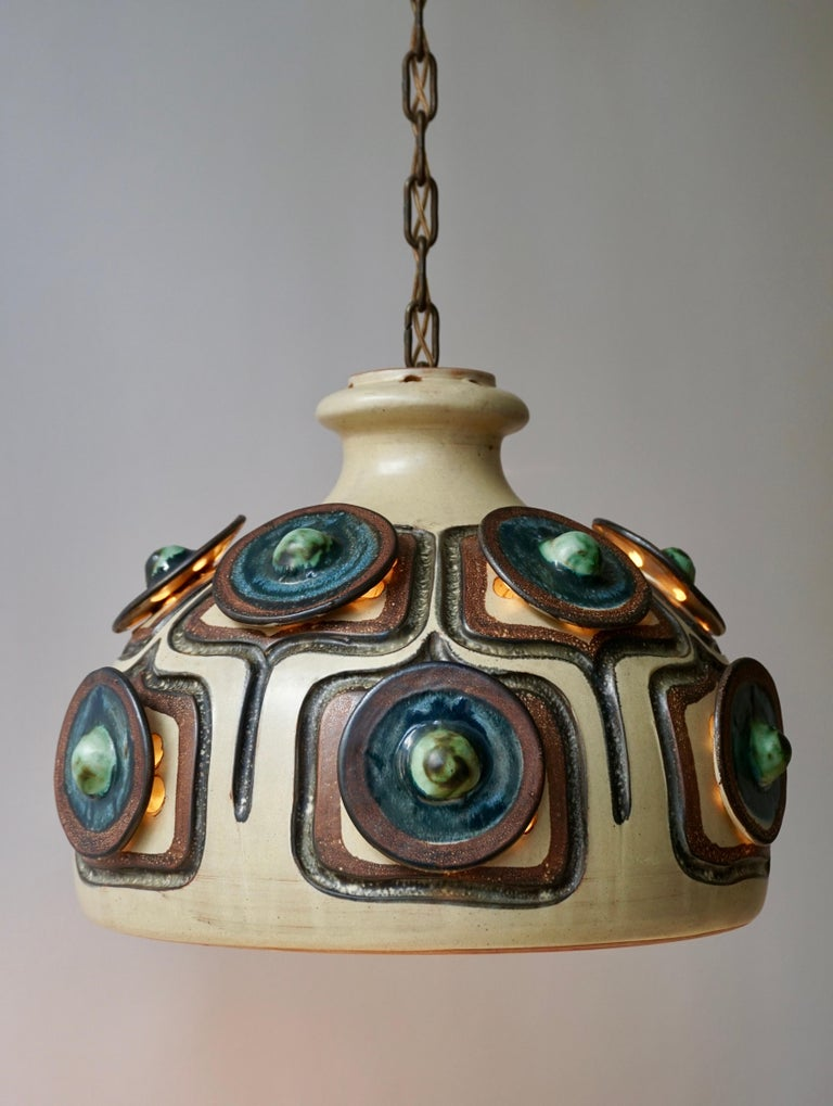 Handmade Danish Ceramic Pendant Light by Jette Hellerøe for Axella, 1970s For Sale 5