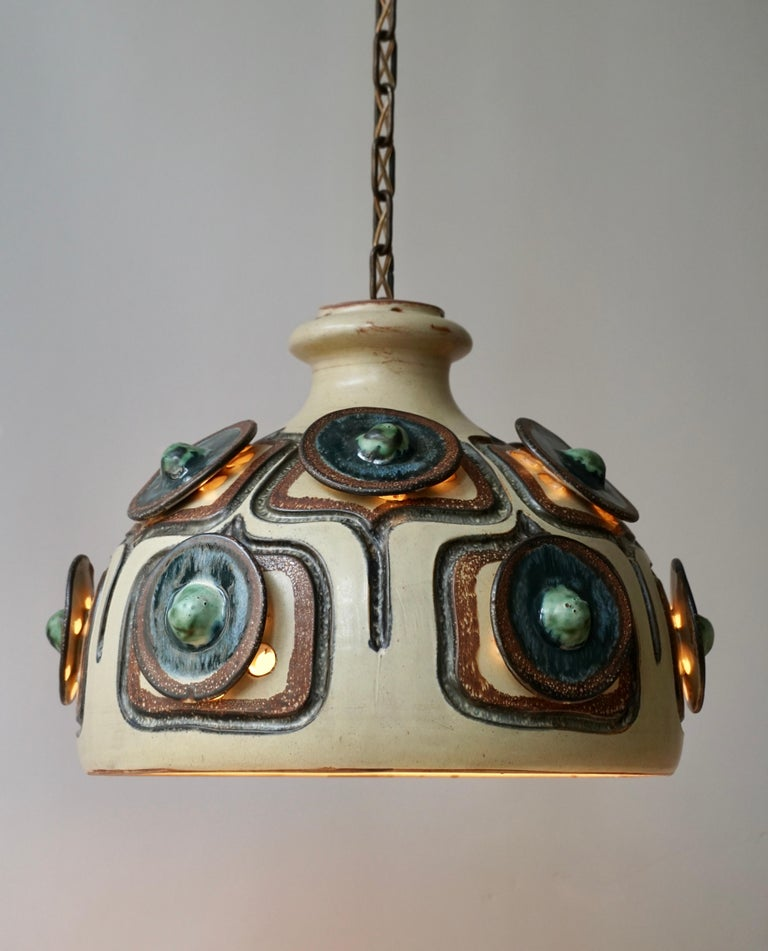 Handmade Danish Ceramic Pendant Light by Jette Hellerøe for Axella, 1970s For Sale 6