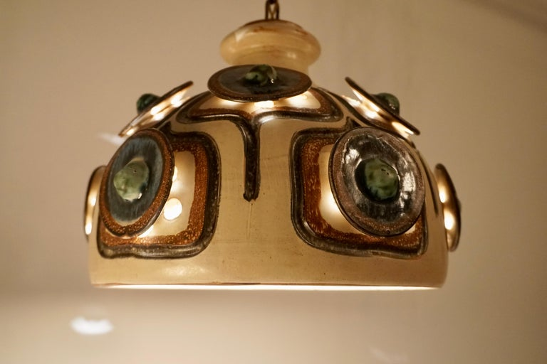 Handmade Danish Ceramic Pendant Light by Jette Hellerøe for Axella, 1970s For Sale 11