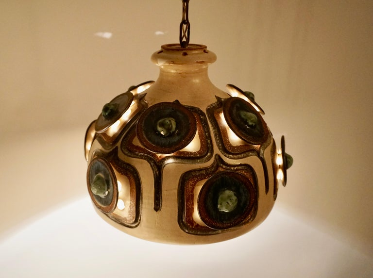 Handmade Danish Ceramic Pendant Light by Jette Hellerøe for Axella, 1970s For Sale 12