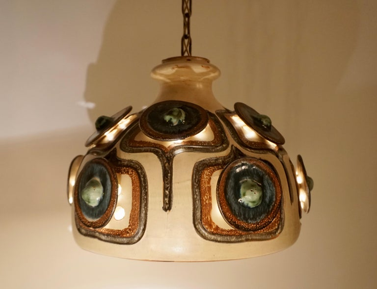 Handmade Danish Ceramic Pendant Light by Jette Hellerøe for Axella, 1970s For Sale 13