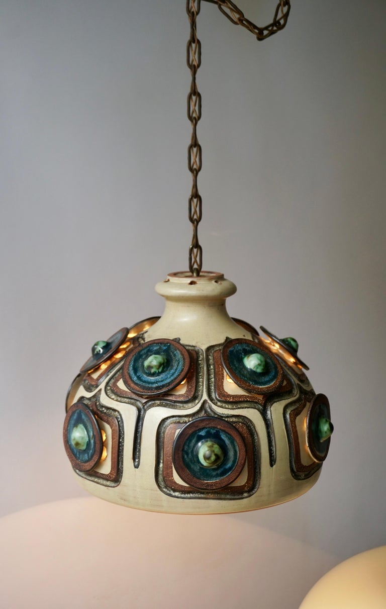 20th Century Handmade Danish Ceramic Pendant Light by Jette Hellerøe for Axella, 1970s For Sale