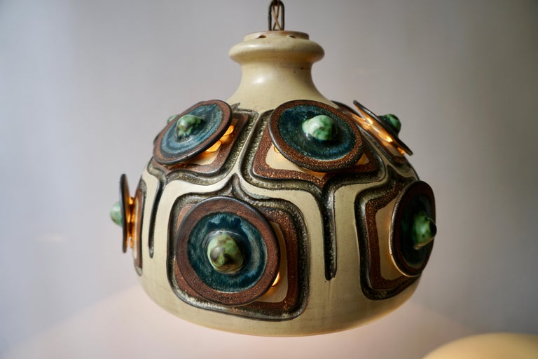 Handmade Danish Ceramic Pendant Light by Jette Hellerøe for Axella, 1970s For Sale 1