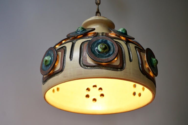 Handmade Danish Ceramic Pendant Light by Jette Hellerøe for Axella, 1970s For Sale 3